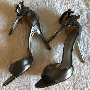 New Guess silver dress heels with ankle strap